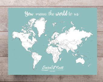 Map guest book etsy wedding guestbook world map print with names date personalized travel map map poster gumiabroncs Image collections