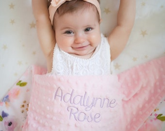 Baby Blanket with Name - Floral Baby Blanket - Personalized Baby Blanket - Minky Baby Blanket - Baby Girl Blanket - Monogrammed Baby Blanket