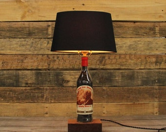 Pappy Van Winkle Bottle Table Lamp, Authentic Bourbon Barrel Char, Reclaimed Wood Base, Full Sized Table Lamp, Bourbon Bottle Desk Lamp