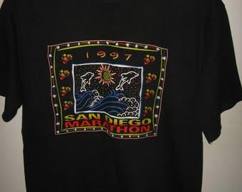 San Diego Marathon Tee - Vintage 1997 California USA Running Race T Shirt Medium