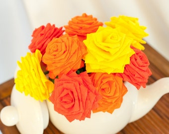 Spring Summer Paper Flowers Bouquet - 9 short-stem Red, Orange, and Yellow
