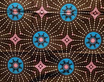 Brown and Blue Geometric Ankara fabric, African Wax Cotton fabric, Colourful African Wax Print, African Ankara, sold by the yard