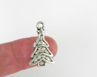12 Christmas Tree Charms in Antiqued Silver - 23mm x 14mm - Lead free