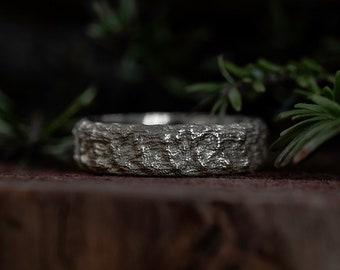 Wide Wedding Band | Alternative Rustic texture wedding Ring | Unique Mens Wedding Band | Nature Inspired Gold Ring