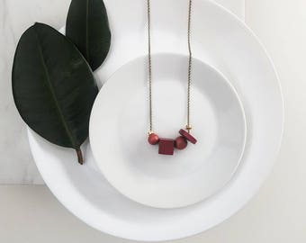 Mae Necklace | Petite geometric bead  | Scarlet & Ruby