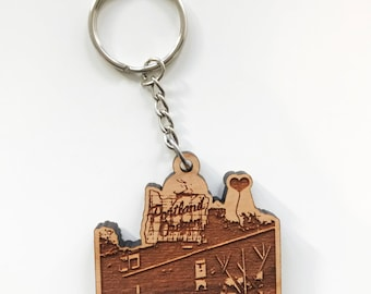 Portland Oregon White Stag Sign Wooden Key Chain