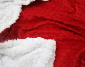 White Swirl Minky & Red Bubble Minky Blanket
