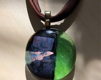 Beautiful Fused Glass Necklace, Modern Fused Glass Necklace, Abstract Art Necklace