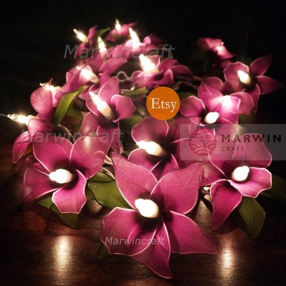 20 purple string lights orchid flower fairy lights bedroom like this item mightylinksfo Choice Image