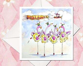 Flamingo Card - Fun Flamingo Card - Pink Card - Well Done Card