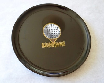 Vintage Couroc Golf Tray with Rare Factory Seconds Sticker