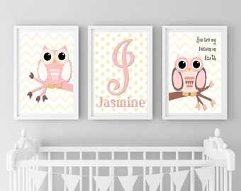 Owl Print Set of 3, Owl Nursery Decor, Owl Nursery Wall Art, Woodland Animals, Pink Owl Designs, Pink Woodland Animal, Nursery Print Owl