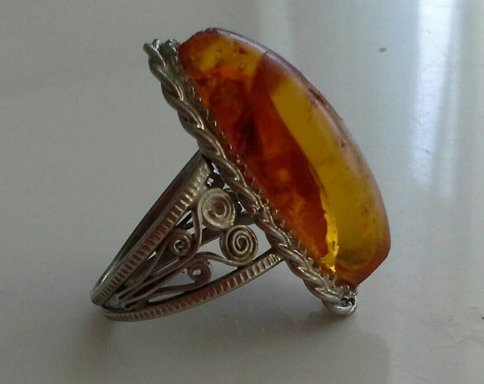 Antique Organic Baltic Amber Cabochon Sterling Silver Filigree Ring Size 8.5