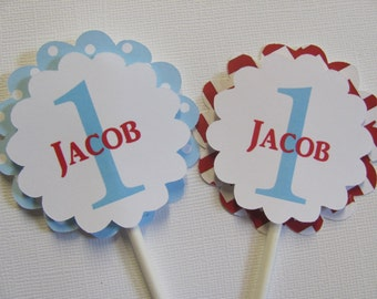 Cupcake Toppers, Set of 12, Personalized cupcake toppers, Red and Blue cupcake toppers