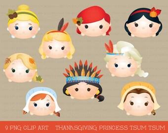 Thanksgiving princess tsum tsum clipart, tsum tsum graphics, thanksgiving clipart, cute thanksgiving, party, princess, instant download