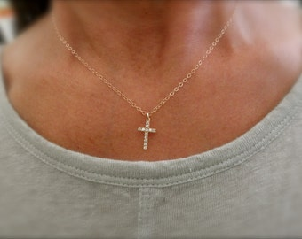 CZ  cross necklace with 14K goldfilled chain - pave cross pendant - cz gold cross - cz rose gold pendant