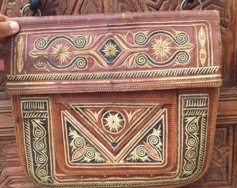 Vintage MOROCCAN LEATHER BAG Multi-Pocket