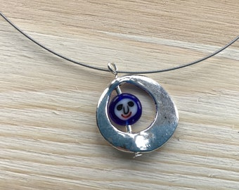 Necklace of Millefiori Glass Smiley Face in a Metal Silver Ring Bead Pendant