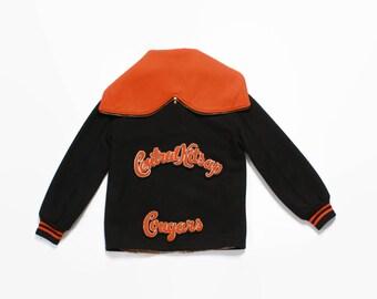Vintage 60s VARSITY JACKET / 1960s Wool Cheerleader Hooded Letterman Jacket S