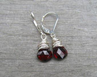 Garnet Earrings Sterling Silver,  January Birthstone,  Burgandy Dangle Earrings,  Wire Wrapped, Garnet Jewelry