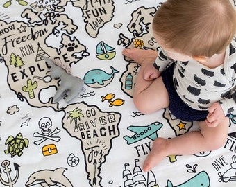 World map blanket etsy organic baby muslin wrap play mat swaddle world explorer certified organic cotton gumiabroncs Images