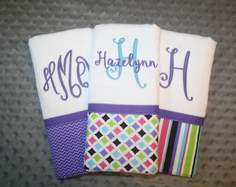 Fun Purple and Aqua Baby Girl Burp Cloth Gift Set- Set of 3 Custom Monogrammed Burp Cloths