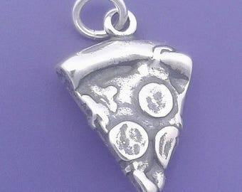 PIZZA Slice Charm .925 Sterling Silver, Pizza With PEPPERONI, Italian Food Pendant - d35517