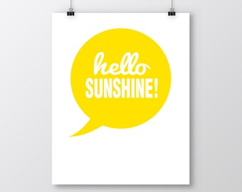 Hello Sunshine Printable Art, Hello Sunshine Art Print, Yellow Wall Decor, Yellow Printable Art