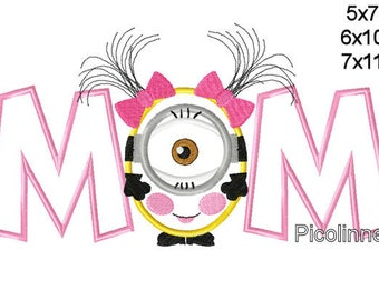 MlNION Girl Mom Word Machine Applique Design Embroidery Pattern 5x7 6x10 7x11 INSTANT DOWNLOAD