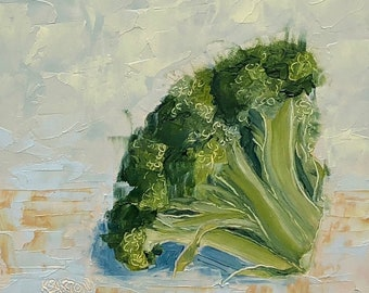 "BROCCOLI small still life ORIGINAL oil painting by Karen Barton 6""x6"""