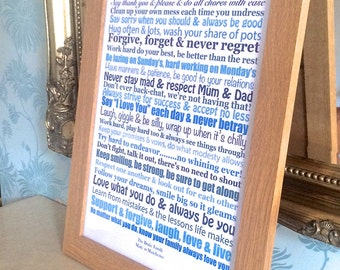Personalised Family Rules Poster Sign Print Wall Art RHYMING  Print Quote New Home Unusual Housewarming Gift Typography Art