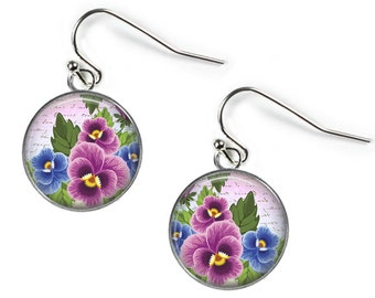PANSIES in Pink & Blue - Glass Picture Earrings - Silver Plated (Art Print Photo AQ6)