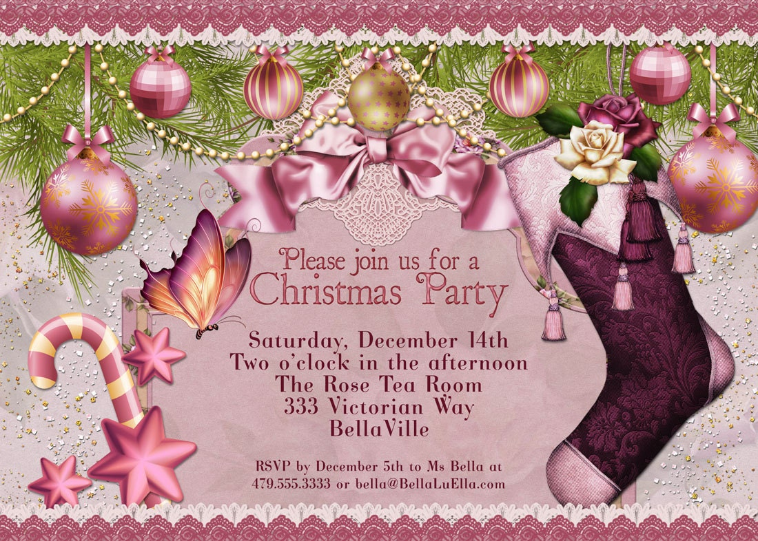 Christmas party invitation victorian christmas card ladies zoom m4hsunfo