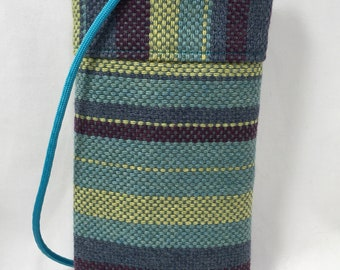 """Cell Phone Pouch, Cross body Phone Pouch, Multi Color Strip Upholstery Fabric Pouch 7"""" x 4"""" x 3/4"""""""