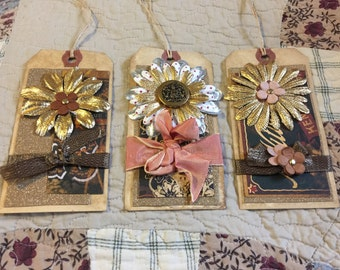 Handmade gift tags set of 3, vintage style, coffee stained and decorated, flowers.