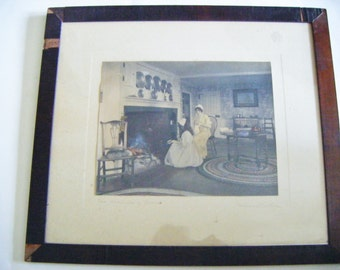 """Rare Antique Framed Wallace Nutting Hand Colored Interior """"The Charms Of Home"""" Signed and Titled In Pencil"""