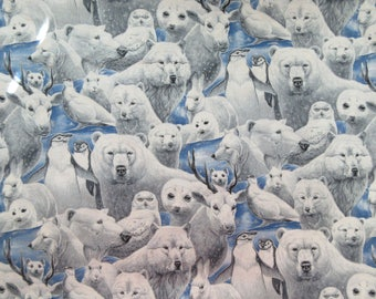 Polar Bear & Friends  Fabric - Joan Messmore by Cranston Print Works  - OOP - Quilters Cotton - Price per yard