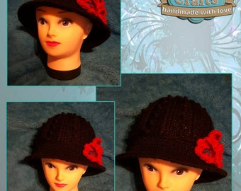 Ladies Cloche Hat with Floral Trim