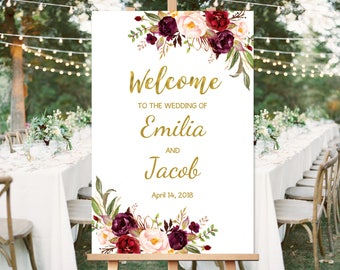 Welcome Wedding Sign, Printable Wedding Reception Sign Template, Burgundy, Marsala, #A025, INSTANT DOWNLOAD, Editable PDF
