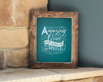 Amazing Grace - 8x10 Digital Printable Art - Hymn Lettering - Chalk