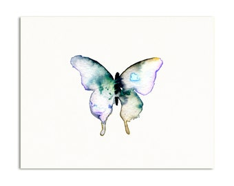 Watercolor Butterfly Art Print. Nature Art. Indigo/Green Butterfly Painting. Minimalist Nature Decor. Baby Nursery Art. Dorm Room Art Print.
