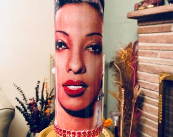 JOSEPHINE BAKER - BlackSuede Memorial Candle for Josephine Baker.  Hand-decorated glass.