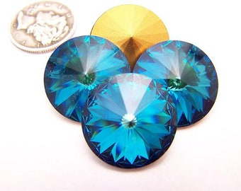 Bermuda Blue F (Various Sizes) Swarovski 1122 Rivoli Stone