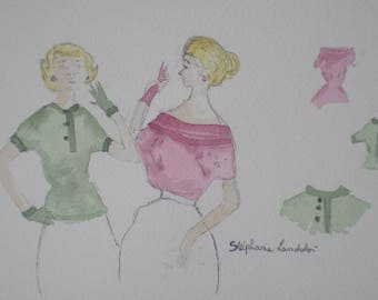 watercolor fashion women