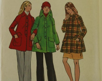 "Jacket, Flared  - 1970's - Butterick Pattern 6807  Uncut  Size 14   Bust  34"""
