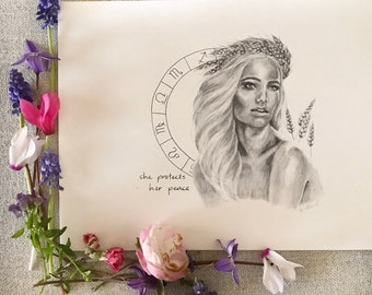 Virgo Zodiac Boho Art Print
