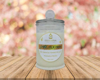 Scented Natural Soy Candle Tea Tree in Medium Jar 130 g (4.6 oz) - 34 Hour Burn Time