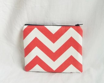 Coral Makeup Bag - Embroidered Cosmetic bag - Personalized Chevron Pouch - Bridesmaid clutches - Small