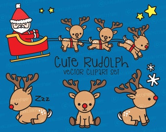 Premium Vector Clipart - Kawaii Rudolph the Red Nosed Reindeer - Cute Reindeer Clipart Set - High Quality Vectors - Kawaii Christmas Clipart
