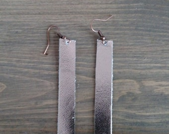 Silver Drop Earrings - Leather Drop Earrings - Leather Jewelry - Silver Metallic Leather Dangle Earrings